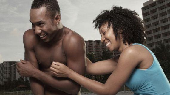 woman tickling man
